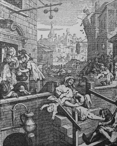 Gin Lane Incisione di Hogarth